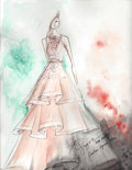 Art Glass:Daum, Khanh Nguyen. Original Sketch inspired by La boheme. Benefitting The Dallas Opera. ...