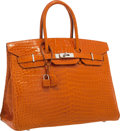 "Luxury Accessories:Bags, Hermes 35cm Shiny Orange H Porosus Crocodile Birkin Bag withPalladium Hardware. Very Good Condition. 14"" Width x 10""..."