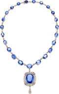 Estate Jewelry:Necklaces, Art Deco Ceylon Sapphire, Diamond, Platinum Pendant-Necklace, J.E.Caldwell & Co.. ...