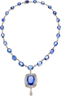 Art Deco Ceylon Sapphire, Diamond, Platinum Pendant-Necklace, J.E. Caldwell & Co