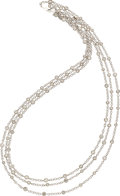 Estate Jewelry:Necklaces, Diamond, White Gold Long Chain. ...