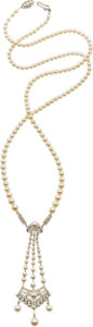 Estate Jewelry:Pearls, Natural Pearl, Diamond, Platinum Necklace. ...