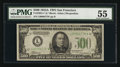 Fr. 2202-L* $500 1934A Federal Reserve Note. PMG About Uncirculated 55