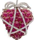 Estate Jewelry:Brooches - Pins, Ruby, Diamond, Platinum, Gold Brooch. ...