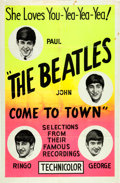 Music Memorabilia:Posters, The Beatles Come to Town Film Short Poster (Pathé News, 1963)...