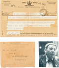Music Memorabilia:Documents, Beatles - John Lennon Telegram of Apology to Bob Wooler, 1963...