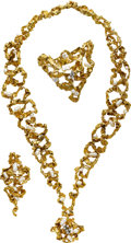Estate Jewelry:Suites, Freshwater Cultured Pearl, Diamond, Gold Jewelry Suite, Gilbert Albert. ...