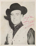 Music Memorabilia:Autographs and Signed Items, Johnny Horton Signed Black and White Promotional Photo (1950s)....