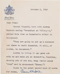"""Movie/TV Memorabilia:Autographs and Signed Items, An Audrey Hepburn and """"Breakfast at Tiffany's""""-Related Note, 1960...."""