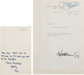 Movie/TV Memorabilia:Autographs and Signed Items, A Clark Gable-Related Set of Notes From His Wife Kay, 1960s....