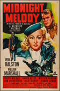 "Movie Posters:Mystery, Murder in the Music Hall (Republic, R-1951). One Sheet (27"" X 41"") Reissue Title: Midnight Melody. Mystery.. ..."