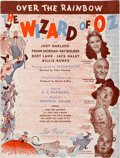 "Movie/TV Memorabilia:Documents, A Piece of Sheet Music from ""The Wizard of Oz,"" 1939...."