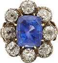 Estate Jewelry:Rings, Antique Sapphire, Diamond, Silver-Topped Gold Ring. ...