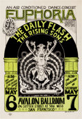 "Music Memorabilia:Posters, Daily Flash/Rising Sons ""Euphoria"" Avalon Ballroom Concert PosterFD-7 (Family Dog, 1966)...."