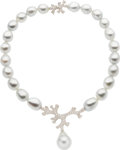 Estate Jewelry:Necklaces, South Sea Cultured Pearl, Diamond, Platinum, White Gold Necklace,Angela Cummings for Assael. ...
