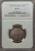 British West Indies, British West Indies: British Colony 1/4 Dollar 1822 MS62 NGC,...