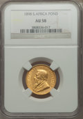 South Africa: Republic gold Pond 1898 AU58 NGC