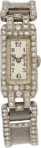 Estate Jewelry:Watches, Art Deco Glycine Diamond, Platinum Wristwatch. ...