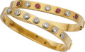Estate Jewelry:Bracelets, Diamond, Ruby, Gold Bracelets. ... (Total: 2 Items)