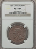 South Africa: Republic Penny 1894 AU58 Brown NGC