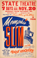 Music Memorabilia:Posters, Memphis Slim and his House Rockers State Theatre Concert WindowCard Poster (Ralph Cooper, c. 1950s)....