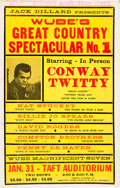 Music Memorabilia:Posters, Conway Twitty - WUBE's Great Country Spectacular #1 Window CardPoster (c. 1970)....
