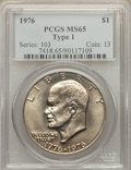 Eisenhower Dollars: , 1976 $1 Type One MS65 PCGS. PCGS Population (488/24). NGC Census: (224/17). Mintage: 4,019,000. Numismedia Wsl. Price for p...