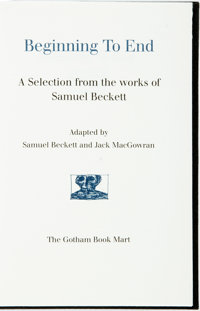 [Featured Lot] Edward Gorey, illustrator. Samuel Beckett. SIGNED/LIMITED. Beginning to End. Got