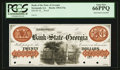Obsoletes By State:Georgia, Savannah, GA- Bank of the State of Georgia $20 G74a Proof. ...