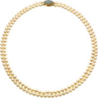 Cultured Pearl, Jade, Gold Necklace