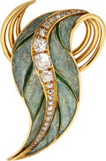 Estate Jewelry:Brooches - Pins, Diamond, Enamel, Gold Brooch, Jean Fouquet. ...