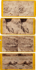 Photography:Stereo Cards, [Battle of Petersburg]. Four Civil War Stereoviews of Dead Soldiers Killed at Petersburg.... (Total: 4 )