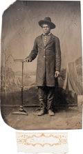 Military & Patriotic:Civil War, CDV Size Tintype of an African-American Soldier....