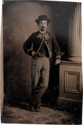 Photography:Tintypes, Carte de Visite Size Tintype of a Union Soldier in a ZouaveStyle Uniform....