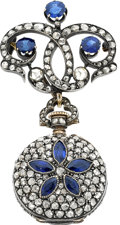 Estate Jewelry:Watches, Victorian Swiss Diamond, Sapphire, Silver-Topped Gold Lapel Watch....