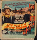 "Movie Posters:Western, She Wore a Yellow Ribbon (RKO, 1949). Trimmed Window Card (14"" X 15""). Western.. ..."