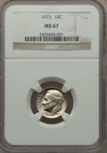Roosevelt Dimes: , 1973 10C MS67 NGC. NGC Census: (3/0). PCGS Population (5/0). Mintage: 315,670,016. Numismedia Wsl. Price for problem free N...
