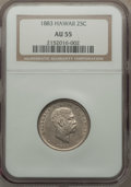 Coins of Hawaii: , 1883 25C Hawaii Quarter AU55 NGC. NGC Census: (66/1016). PCGS Population (121/1307). Mintage: 500,000. ...