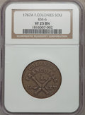 1767-A 9DEN French Colonies Copper Sou VF25 NGC. KM-6. NGC Census: (5/15). PCGS Population (7/52). ...(PCGS# 158651)