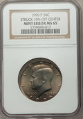 Errors, 1990-P 50C Kennedy Half Dollar -- Struck 10% Off Center -- MS65NGC....