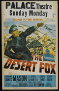 "Movie Posters:War, The Desert Fox (20th Century Fox, 1951). Window Card (14"" X 22"").War. Directed by Henry Hathaway. Starring James Mason, Ced..."