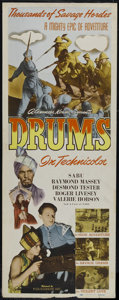 "Movie Posters:Adventure, Drums (Film Classics, R-1948). Insert (14"" X 36""). Adventure.Directed by Zoltan Korda. Starring Sabu, Raymond Massey, Roger..."