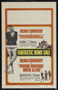 "Movie Posters:Action, From Russia With Love/Thunderball Combo (United Artists, R-1968).Window Card (14"" X 22""). Action. Directed by Terence Young..."