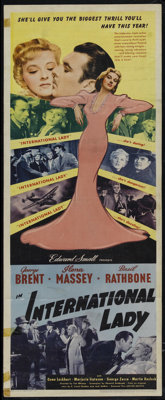 "International Lady (United Artists, 1941). Insert (14"" X 36""). Directed by Tim Whelan. Starring George Brent..."