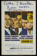 """Movie Posters:Drama, Ocean's 11 (Warner Brothers, 1960). Window Card (14"""" X 22""""). Crime. Directed by Lewis Milestone. Starring Frank Sinatra, Dea..."""