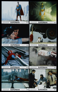 """Superman, the Movie. (Warner Brothers, 1978). Mini Lobby Card Set of 8 (8"""" X 10""""). Action. Directed by Richard..."""