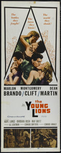"Movie Posters:War, The Young Lions (20th Century Fox, 1958). Insert (14"" X 36""). War.Directed by Edward Dmytryk. Starring Marlon Brando, Montg..."