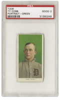 Baseball Cards:Singles (Pre-1930), 1909-11 T206 Ty Cobb Portrait Green Background PSA Good 2. The TyCobb green background portrait variation is the toughest ...