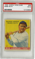 Baseball Cards:Singles (1930-1939), 1934 World Wide Gum Babe Ruth #28 PSA VG 3. Outstanding exampleBabe Ruth from the Canadian Goudey issue of 1934. Sharp co...