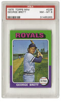 Baseball Cards:Singles (1970-Now), 1975 Topps Mini George Brett #228 PSA NM-MT 8. The colorful '75Topps Mini set is notorious for producing few high-grade ca...